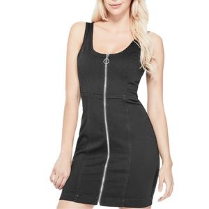 GUESS Jaeda black zippered denim dress XS